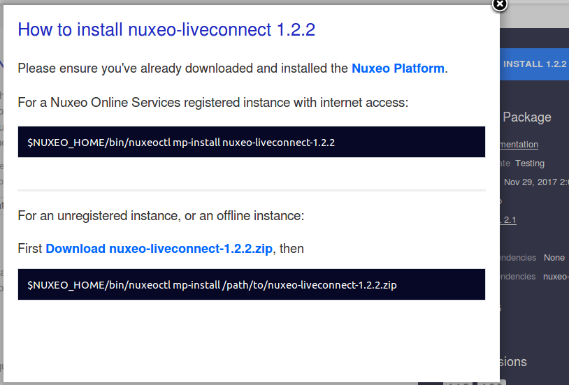 Installing a New Package on Your Instance | Nuxeo Documentation